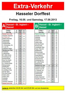 Busplan Hasseler Dorffest 2013