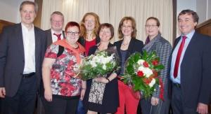 (v.r.n.l.) Dr. Theophil Gallo, Anke Rehlinger, Margriet Zieder-Ripplinger, Sabine Theobald, Petra Berg, Elke Ferner, Ulrich Commerçon, Jo Leinen