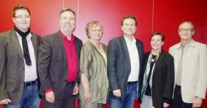 SPD Vorstand (v.l.n.r.: Maximilian Raber, Siegfried Thiel, Marlis Bier, Sven Meier, Mathilde Thiel, Franz-Josef Mast)