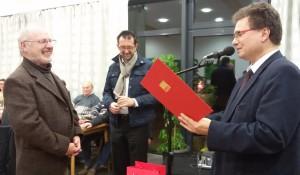(v.l.n.r.: Dr. Winfried Brandenburg, Minister Reinhold Jost, Sven Meier; Foto: Ruth Henrich/ SPD)
