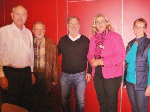 von links nach rechts: Joachim Riedel, Gerd-Michael Rauch, Siegfried Thiel, Anke Rehlinger und Andrea Gehring (Foto: Mathilde Thiel)